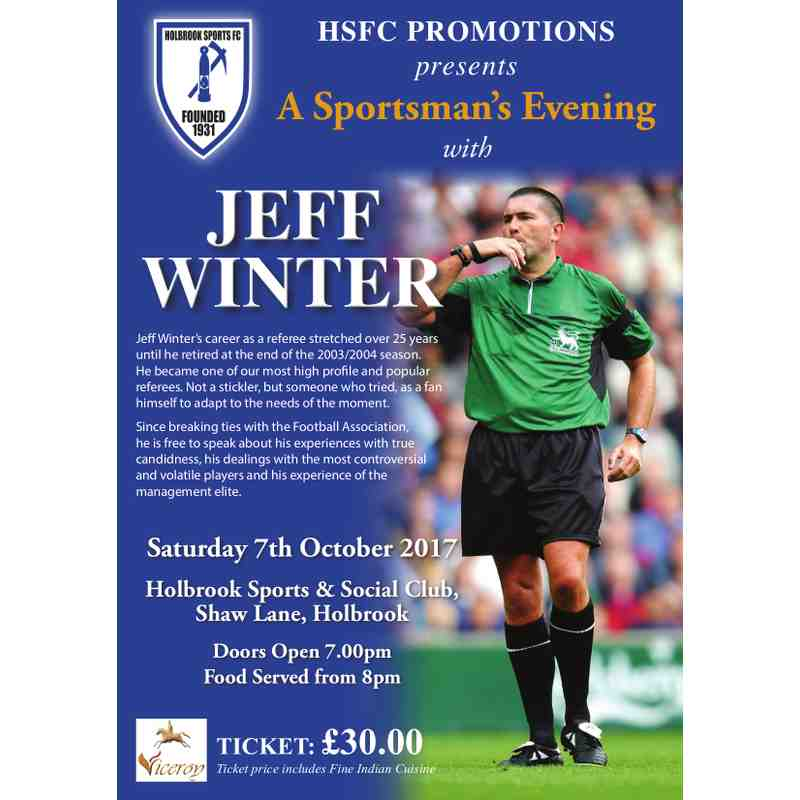 HSFC PROMOTIONS presents ... A Sportsman's Evening with JEFF WINTER