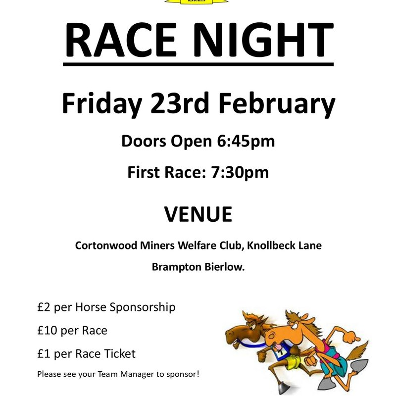 U13s/U14s and U16s Race Night