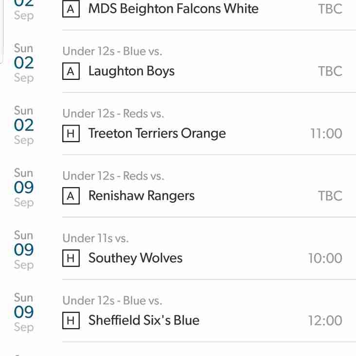 September Fixtures Released