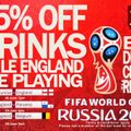 15% OFF DRINKS WHILE ENGLAND ARE PLAYING