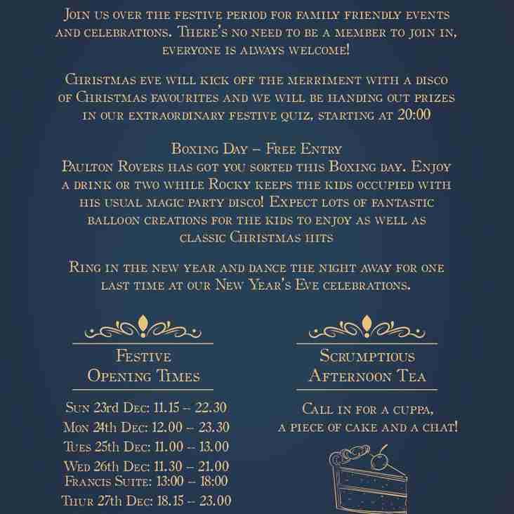 CHRISTMAS AND NEW YEAR AT PAULTON ROVERS