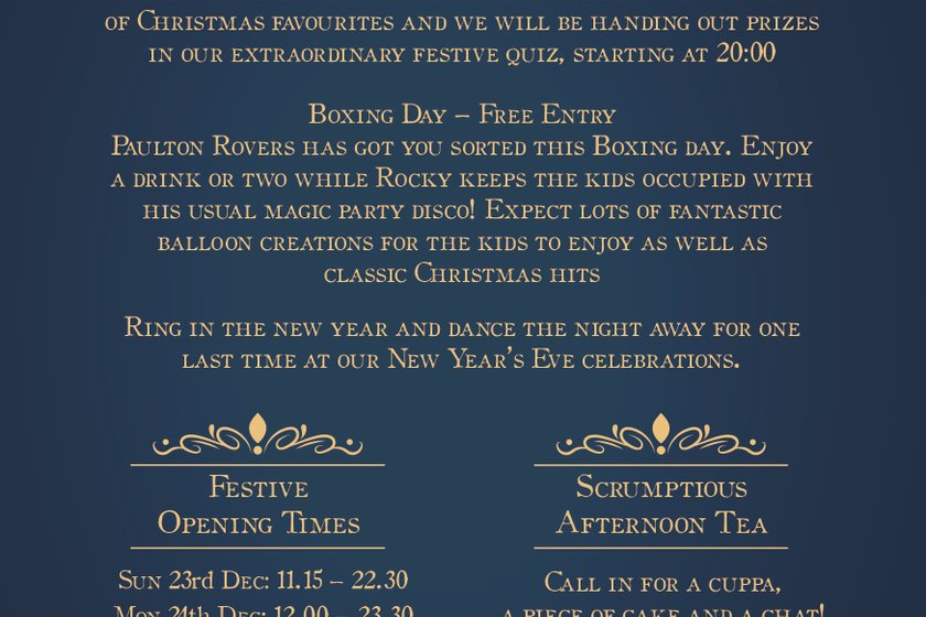 CHRISTMAS AND NEW YEAR AT PAULTON ROVERS