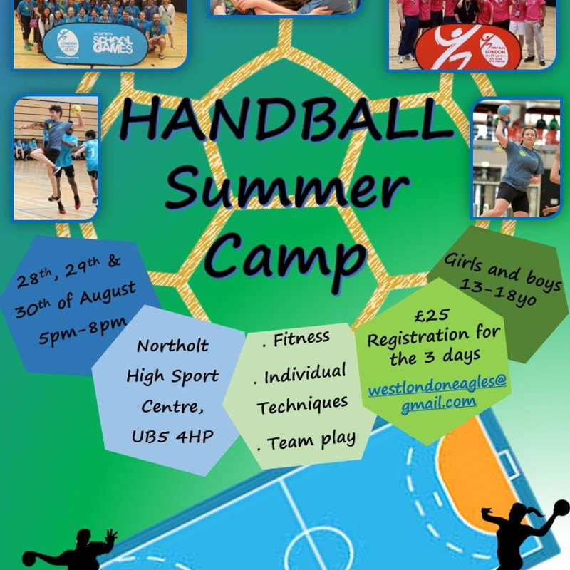 Handball Summer Camp for under 18s running 28th to 30th August