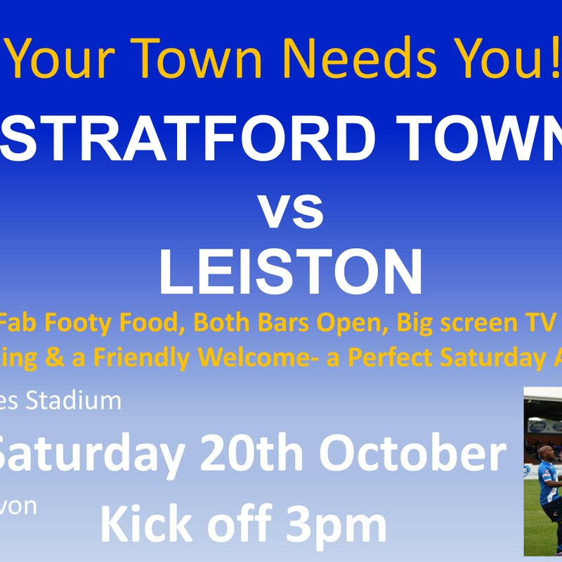 Matchday! We're back in league action as we host Leiston KO 3pm