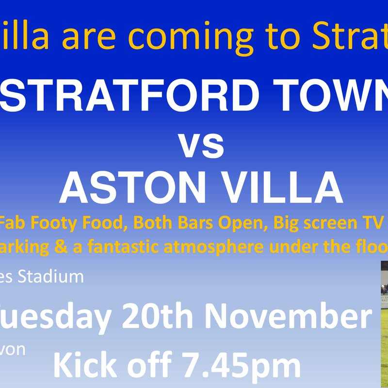 ASTON VILLA are coming to TOWN this Tuesday! KO 7.45pm
