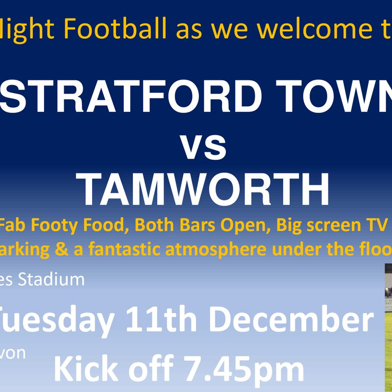 Next up: We welcome Tamworth on Tuesday 11th December KO 7.45pm