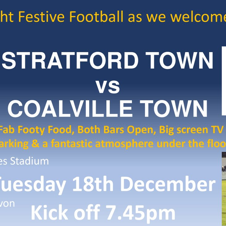 Matchnight we welcome Coalville Town  tonight Tuesday 18th December KO 7.45pm<