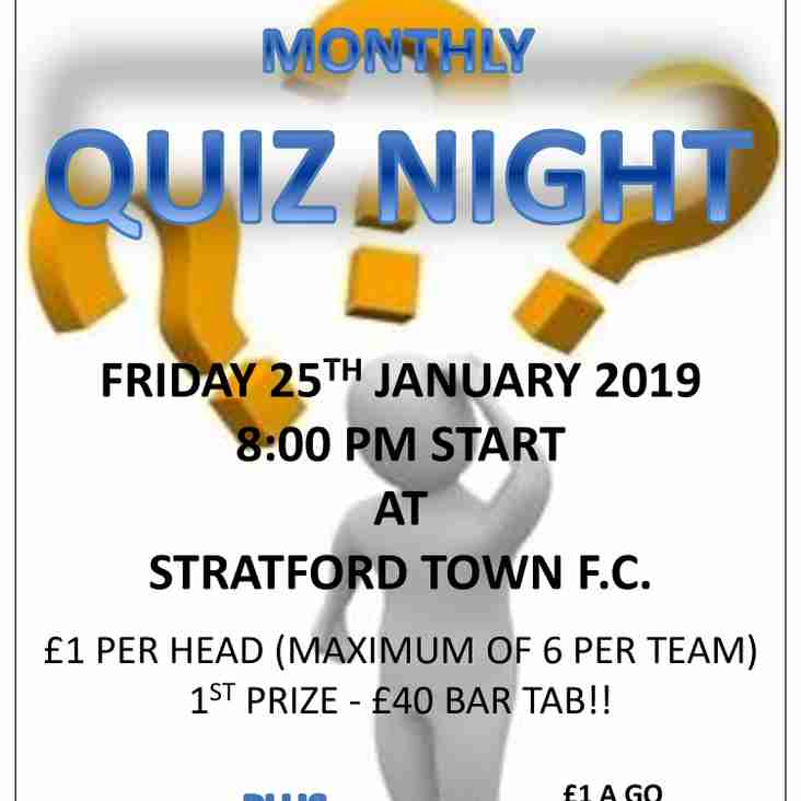 Quiz Night at the club this Friday 25th January starts at 8pm!