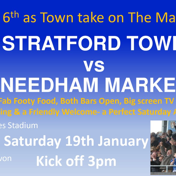 GAMEDAY! We host Play off rivals Needham Market today Saturday 19th January KO 3pm<