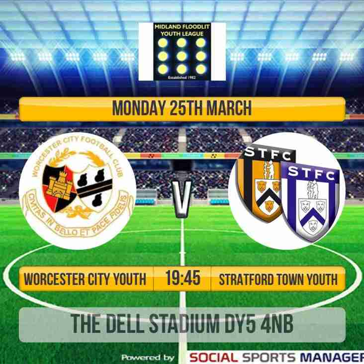Our Youth team visit Worcester City tonight looking to clinch league title KO 7.45pm