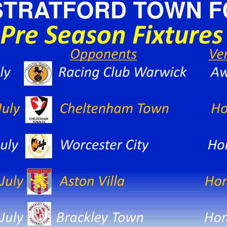 Pre Season Fixtures announced