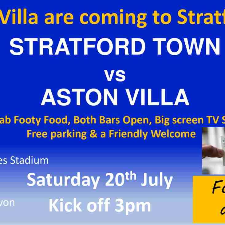 The Villa visit Stratford today Saturday 20th July KO 3pm!