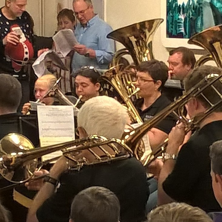 The 50th Year of Carols with Ware Brass Band at Hertford RFC<