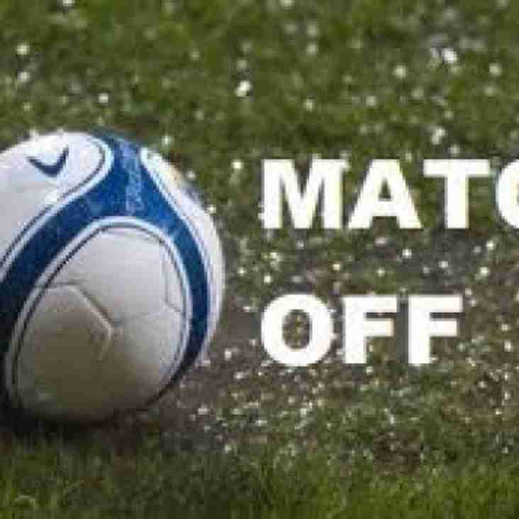 MATCH POSTPONED DUE TO WATERLOGGED PITCH