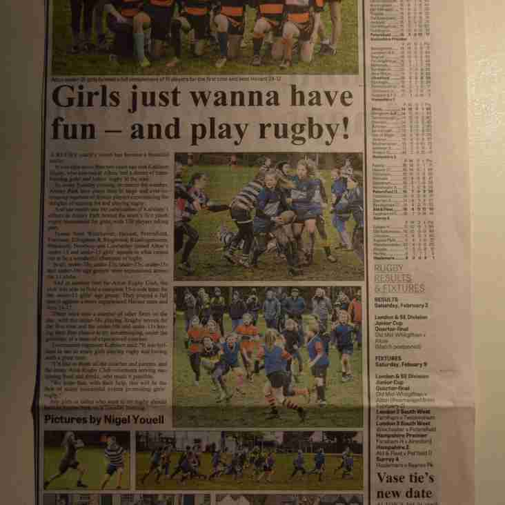 ARFC Girl's Rugby Tournament - Picture Spread in Herald Today