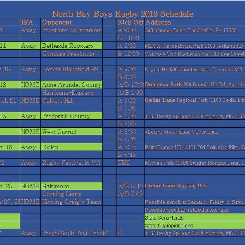 U19 Boy's Schedule
