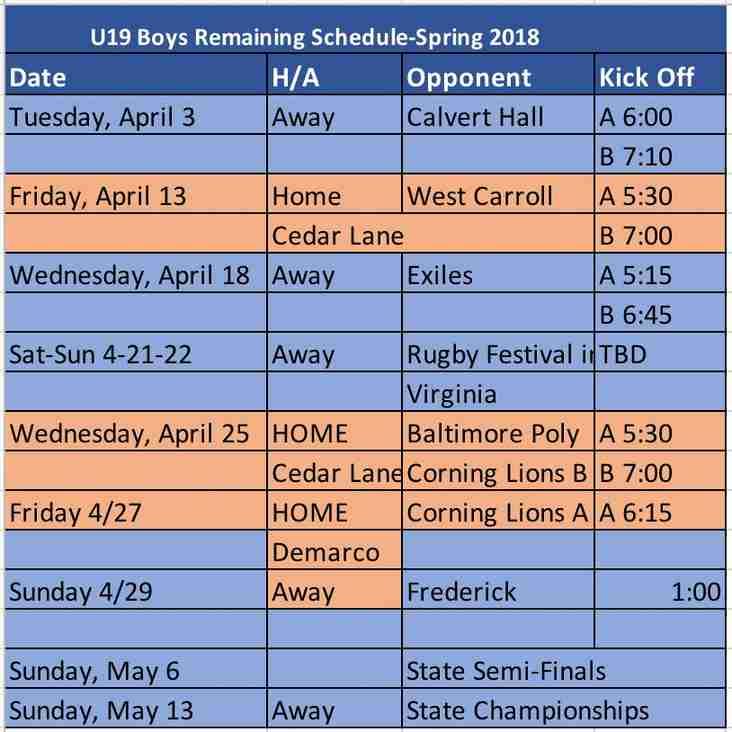 U19 Boys' Schedule