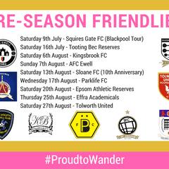 Wanderers Reveal Men's Pre-Season Fixtures