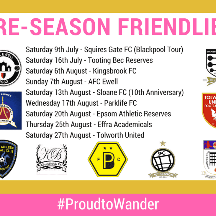 Wanderers Reveal Men's Pre-Season Fixtures
