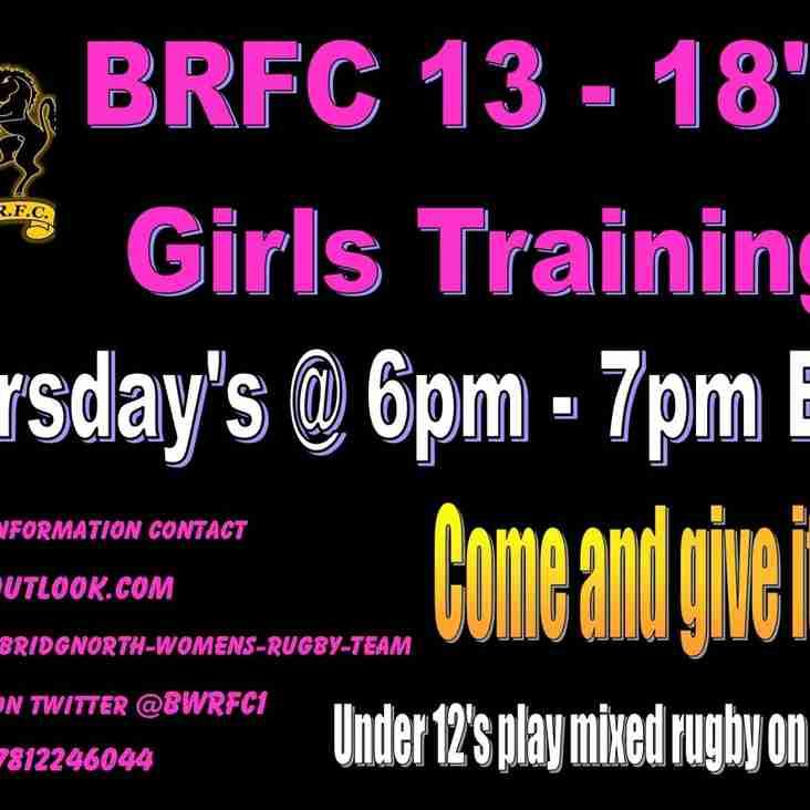 Thursday evening under 18's Girls Training