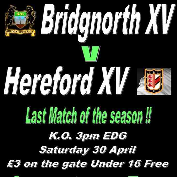 This Saturday, 1st XV v Hereford.