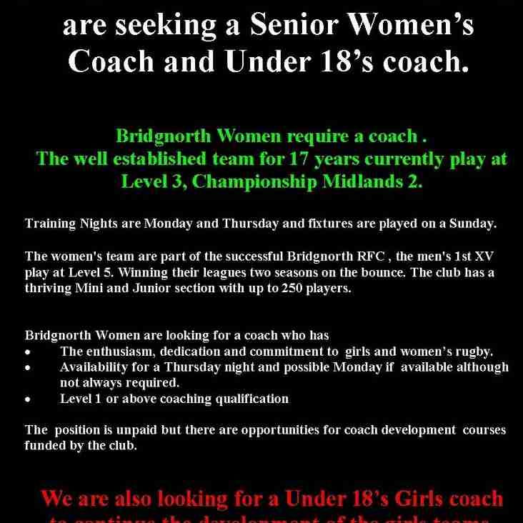 Women's Team  are seeking a Senior Women's  Coach and Under 18's coach.