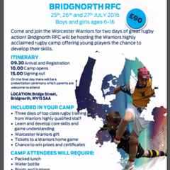 Worcester Warrior Camp for ages 6-16 at BRFC