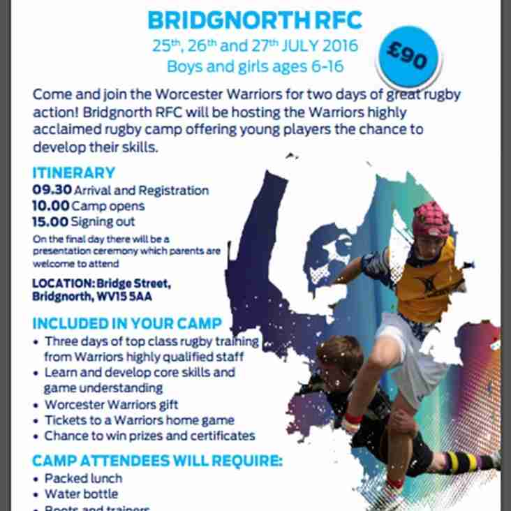 Worcester Warrior Camp for ages 6-16 at BRFC