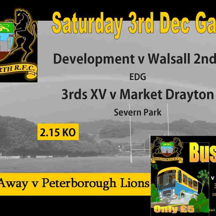 3rd December Rugby action