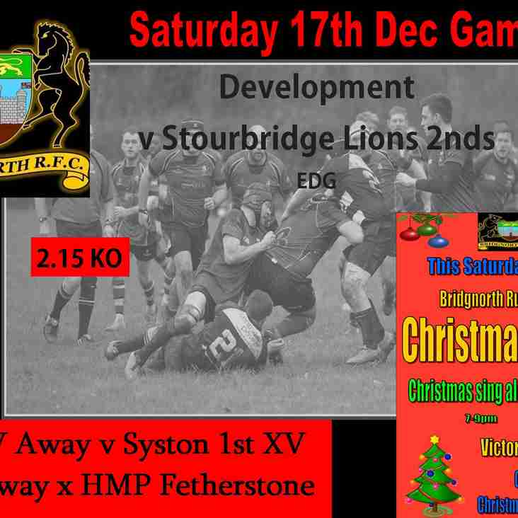 17th Dec Rugby action and Christmas Party!