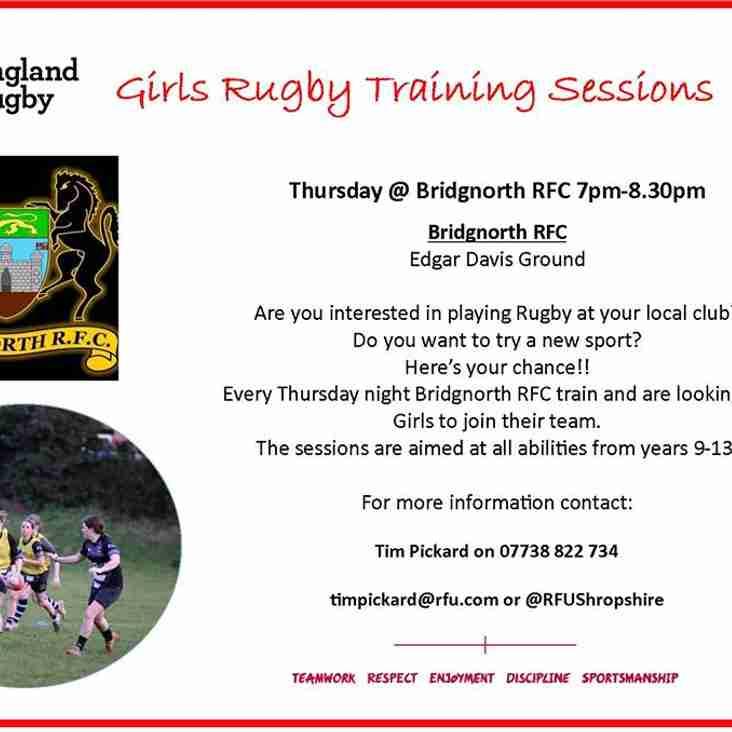 RFU coaching for Bridgnorth Women's team.
