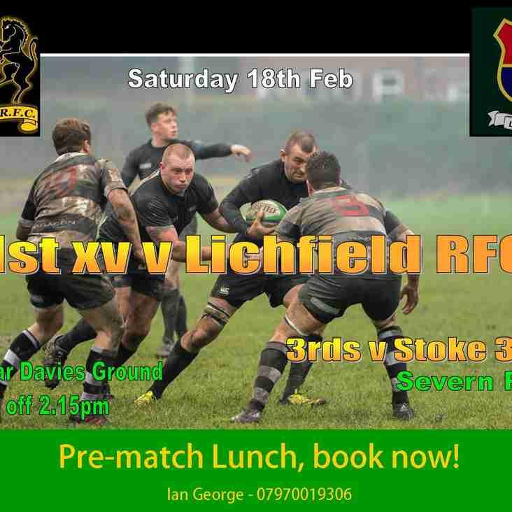 1st XV entertain Lichfield RFC this Saturday (18th Feb)