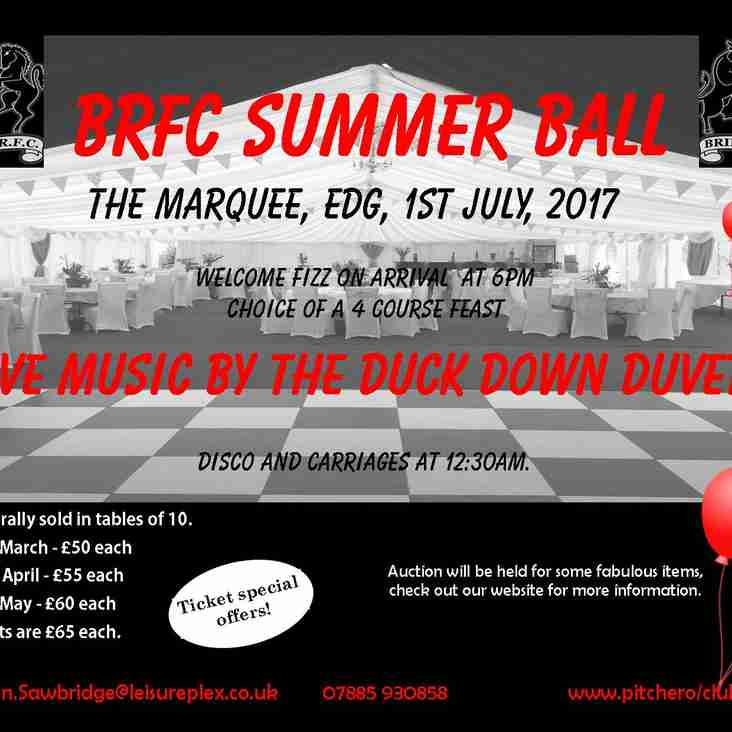BRFC Summer Ball - Discount tickets for early booking!