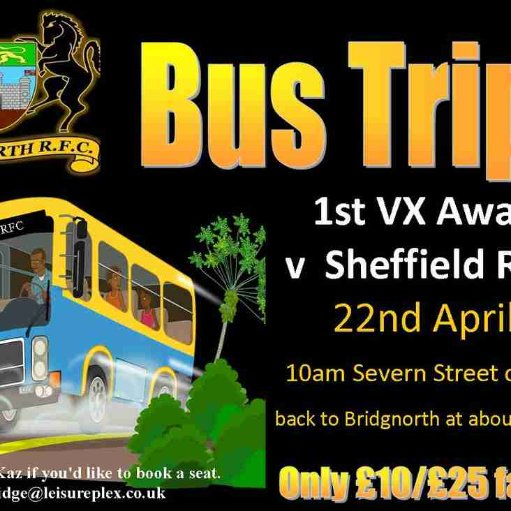 Seats available on the bus to Sheffiled 22nd April - 10.00am leave