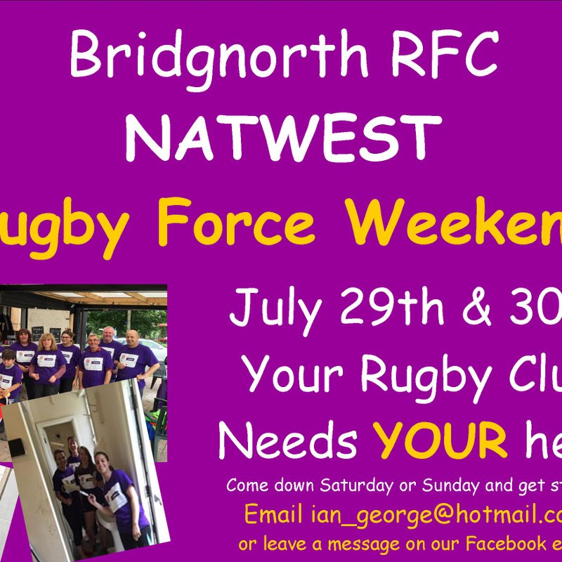 Rugby Force Weekend July 29th & 30th