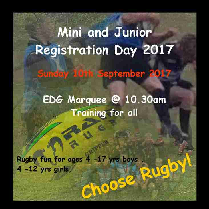 Mini and Junior Registration day.
