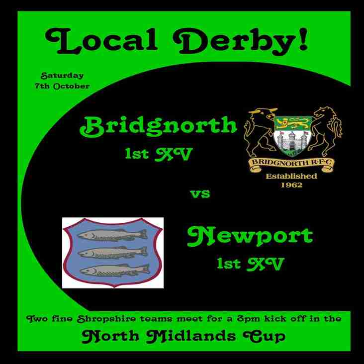 Local Derby! as the 1st XV meet Newport in the North Midlands Cup