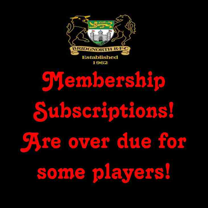 Membership Subscriptions are over due by some players!