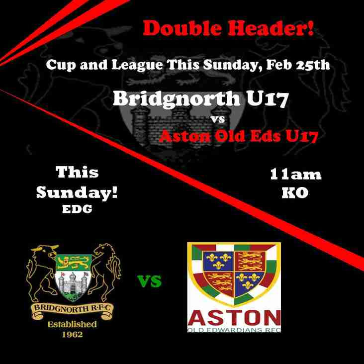 BRFC Under 17's in double header this Sunday.