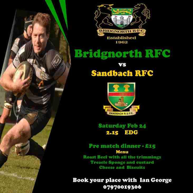 BRFC 1st XV face Sandbach this Saturday.