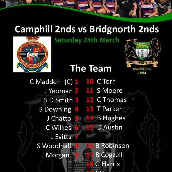2nd team announcement for Camphill game.
