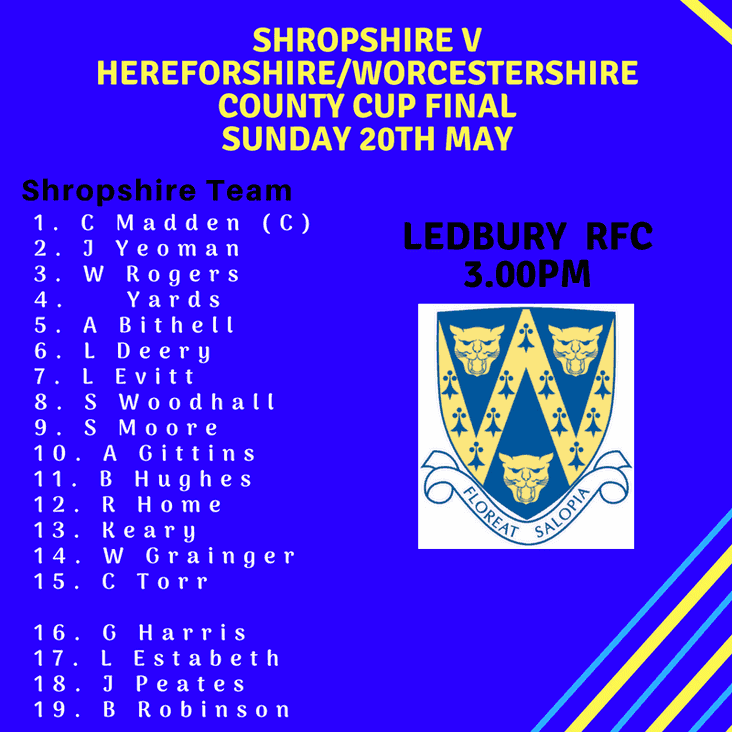 Shropshire RFU play at Ledbury this Sunday 20th May, 3pm ko.