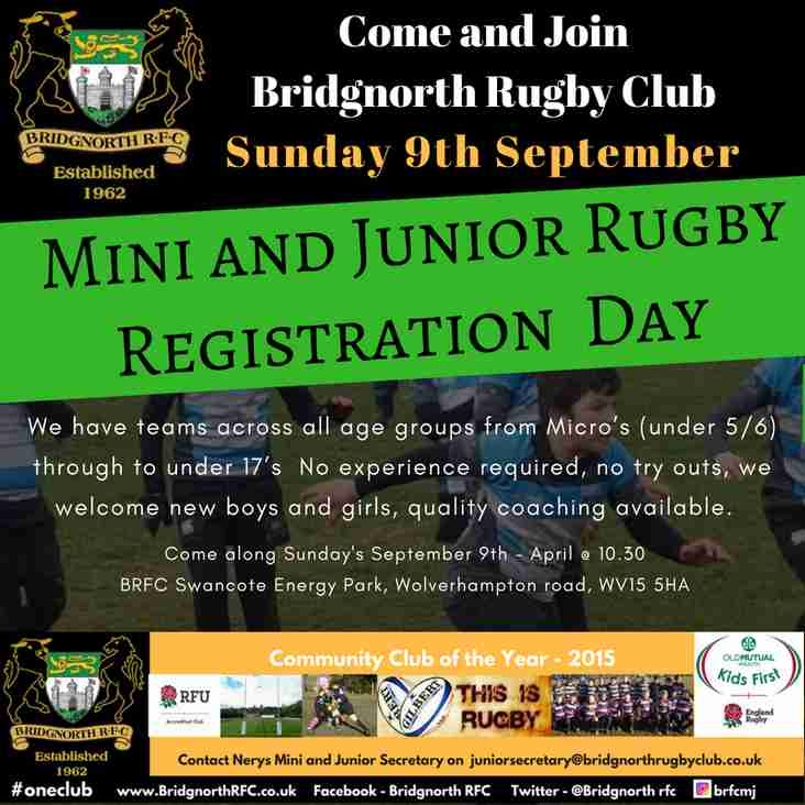 Mini and Junior start back and registration day.