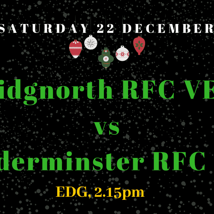 This Saturday - BRFC Vets v Kidderminster Vets