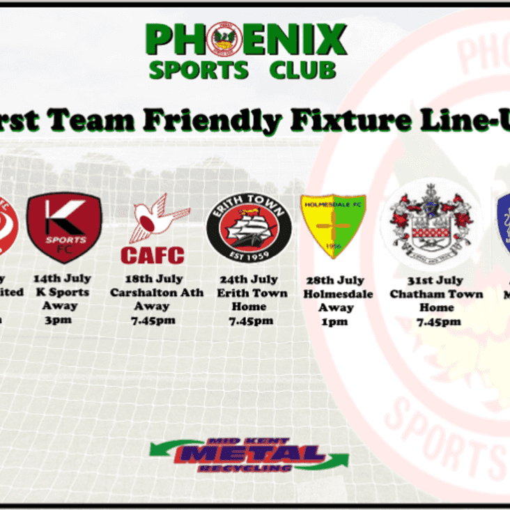Phoenix Sports Pre Season Friendly fixtures