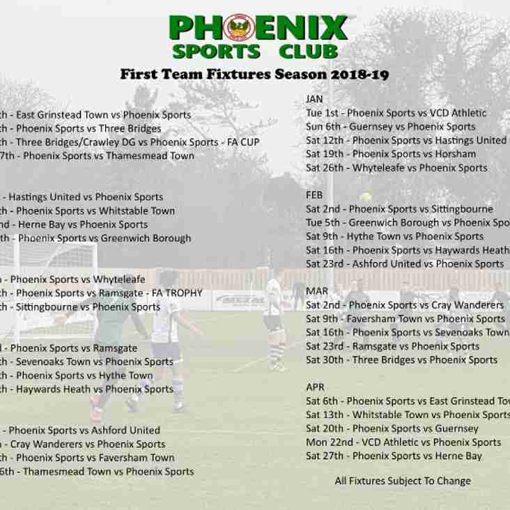 First Team Fixtures - Bostik South East Division - 2018-19