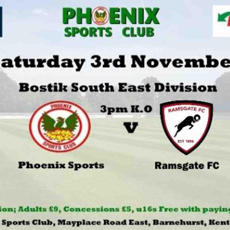 Phoenix Sports v Ramsgate - 3rd Nov