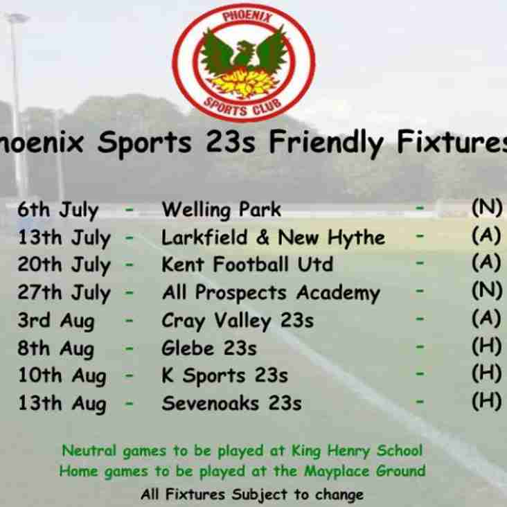 Phoenix Sports u23s - Friendly Fixtures