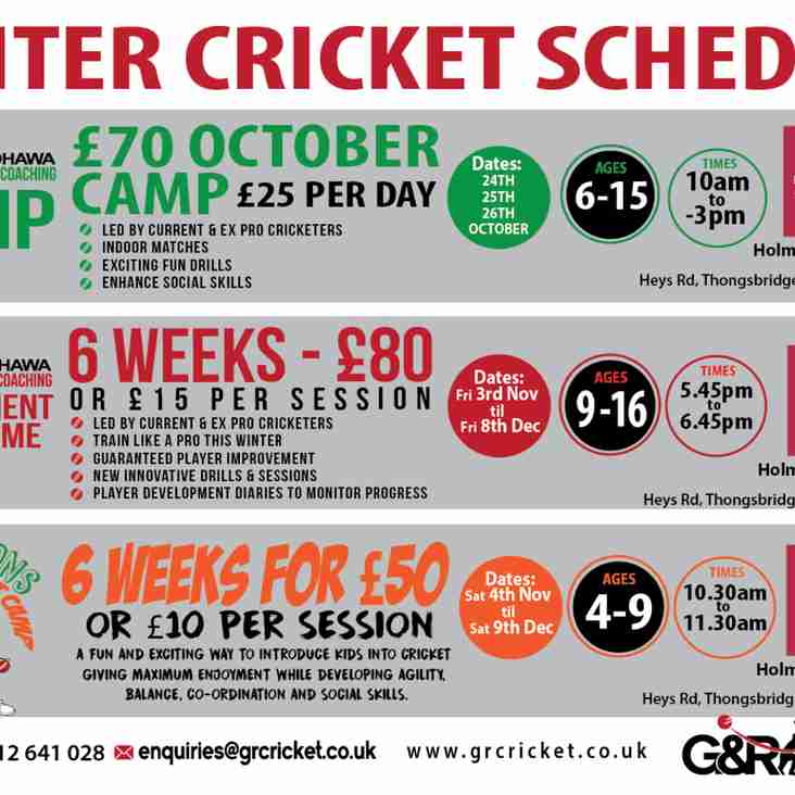 Junior winter cricket schedule