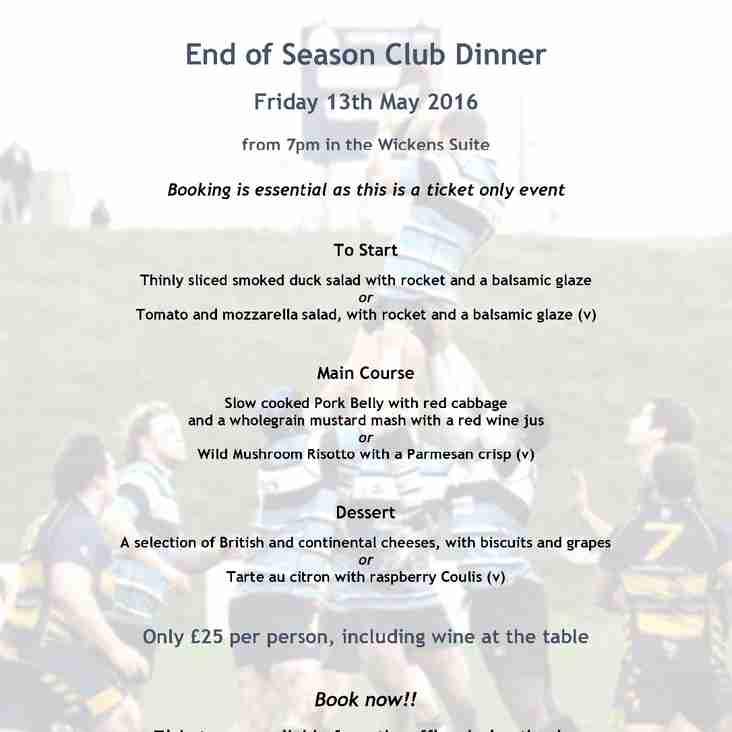 End of Season Dinner - Fri 13 May 2016